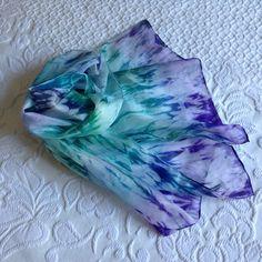 Scarf, Silk Scarf, Hand Painted Silk Scarf, Foulard, Shibori, Silk Shawl, Unique Silk Scarf , Habotai Scarf. by VioletaMarket on Etsy