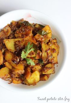 sweet potato stir fry recipe - simple, tasty sweet potato stir fry made with basic ingredients. Pairs well with rice and rasam