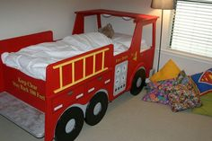 Waterproof truck bed storage - The order in the children's room is much harder to get to learn the multiplication tables. Loft Bed Curtains, Dump Furniture, Bedroom Furniture, Furniture Design, Cool Beds For Kids, Truck Bedroom, Truck Bed Storage, Diy Bett, Childrens Beds