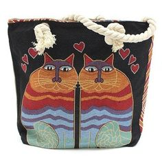 Classic Rope Handled Bag - Two Cats - Dragonfly Days UK A colourful shoulder bag for all cat lovers in a gorgeous woven style soft rope handle shoulder bag that's the perfect sized shopper, beach bag or handbag Back To School Bags, Work Handbag, Cat Lover Gifts, Cat Lovers, Lovers Gift, Beach Tote Bags, Cat Design, Casual Bags, Blue Bags