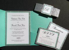 Tiffany Blue Glitter Pocketfold Wedding Invitations