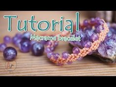 Tutorial how to make a macrame knot bracelet waxed cord with amethyst - YouTube