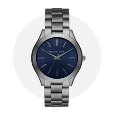 Michael Kors Slim Runway Gunmetal Blue Mk8584 Michael Kors Watch, Runway, Slim, Watches, Bracelets, Accessories, Cat Walk, Walkway, Wristwatches