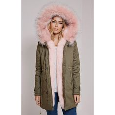 Jen Pink Fur Lined Prremium Parka Coat - Coats & Jackets -... ($92) ❤ liked on Polyvore featuring outerwear, coats, fur lining coat, brown parka, fur-lined coats, parka coat and fur lined parka coat