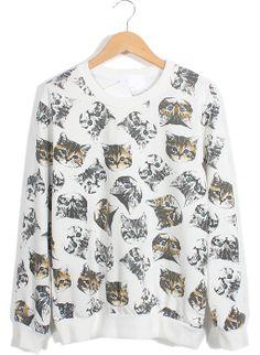 White Long Sleeve Cats Print Loose Sweatshirt