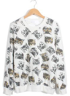 White Long Sleeve Cats Print Loose Sweatshirt// Can I pull this off i the question