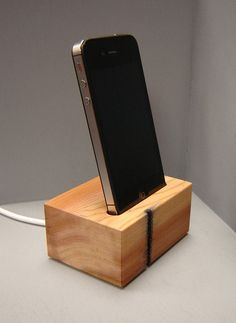 Wooden Iphone Docking Station in Western Red by andrewsreclaimed, $28.00