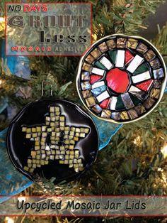 Upcycled Mosaic Jar Lid Ornaments with No Days Groutless Mosaic Adhesive Diy Xmas Ornaments, Jar Lids, Winter Holidays, Adhesive, Upcycle, Create, Christmas, Gifts, Tutorials