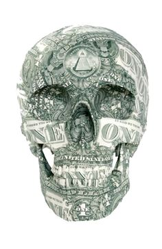 Money Skull by Evan Daros Memento Mori, Skulls And Roses, Chicano Art, Vanitas, Skull Tattoos, Skull Art, Dark Art, Sugar Skull, Bones