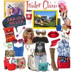 """Trailer Glam""   white trash, redneck, hillbilly, trailer park, tongue ring, red lips, doritos, red shoes, boots, cute purse, marlborol, big gulp,"