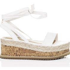 SpyLoveBuy Poppy Espadrille Gladiator Sandals Shoes   White Leather... ($47) ❤ liked on Polyvore featuring shoes, sandals, white, white sandals, platform sandals, platform wedge sandals, white platform sandals and white leather sandals