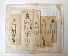 figure studies with white and red  original collage by cathycullis