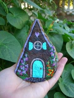 Faerie house painted on a rock. GREAT idea. .