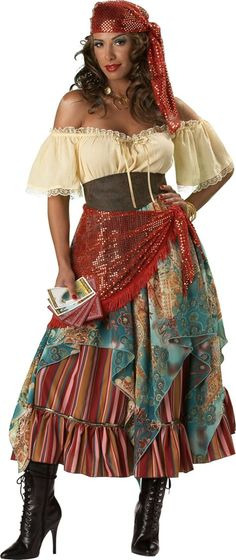 Fortune Teller Costume includes:      Head scarf     Gypsy dress     Attached petticoat     Hip scarf     Waist cinch     6 Tarot cards