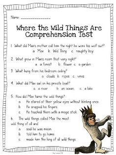 Comprehension Test for Where the Wild Things Are and I Wanna Iguana Comprehension Activities, Reading Activities, Teaching Reading, Reading Comprehension, Reading Resources, Guided Reading, Learning, Reading Street, Common Core Reading