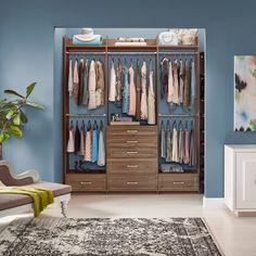 A closet this gorgeous deserves your guest's undivided attention. 😍 Featured: MasterSuite in Coastal Gray; available exclusively from Authorized Dealers #ClosetGoals #Closet #HomeOrganization Closet Storage Systems, Closet Storage, Storage System, Home Organization, Storage, Closet Drawers, Closet System, Wood Closets, Wood Drawers