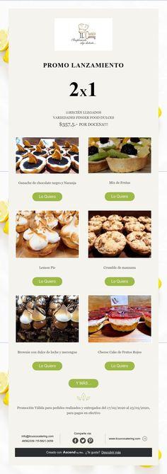 PROMO LANZAMIENTO2X1 En Finger Food Dulce!!! Cheesecake, Finger Foods, Catering, Beef, Sweet Treats, Dulce De Leche, Orange, Meat, Finger Food