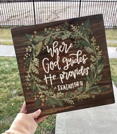 Painting Ideas On Canvas Christian Wood Signs Trendy Ideas Painted Wooden Signs, Wood Signs, Wooden Letters, Scripture Art, Bible Verse Painting, Painting Canvas, Painting Walls, Bible Verse Decor, Bible Verse Canvas