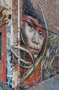 Another amazing street art piece by Adnate, this one in collaboration with Shida. Again, in the street art capital of Melbourne, Fitzroy. #Adnate - More #streetart at www.Streetart.nl