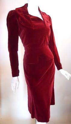 1940s deco design velvet dress, Dorothea's Closet Vintage archives