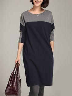 Buy Round Neck Color Block Pocket Shift Dress online with cheap prices and discover fashion Shift Dresses at Fashionmia.com.