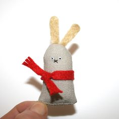 Miniature Toy Bunny, Tiny Handmade Rabbit, Miniature Toy Animal, Woodland Creature, Red Scarf, Dolls and Miniatures, Soft Sculpture, Poosac. £14.00, via Etsy.
