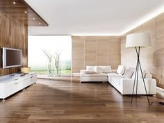 un revêtement de sol et mural aspect bois dans le salon minimaliste