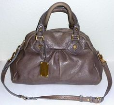 Marc by Marc Jacobs Logo Lining Brass Satchel in Faded Aluminum