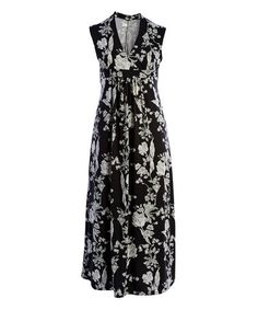 Another great find on #zulily! Black & White Floral Surplice Maxi Dress - Plus #zulilyfinds