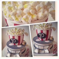 Movie Reel Popcorn Fondant Cake - movie theme party - Lola Pola Designs (Facebook)