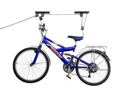 This pulley system will keep bikes from being mangled by parking cars. | 27 Insanely Clever Things To Finally Organize Your Messy Garage