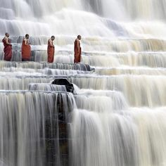 A simply breathtaking shot of mediating monks at Pongour Falls in Dalat, Vietnam by photographer Dang Ngo. Also known as the 7 layers waterfall, Pongour Falls is located just outside of Dalat (Lam Dong province) and is the largest waterfall in the region. Places Around The World, Oh The Places You'll Go, Places To Travel, Around The Worlds, Travel Destinations, Amazing Destinations, Travel Around The World, Cool Places To Visit, Laos