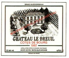 Chateau de Breuil 1982 French Wine Label