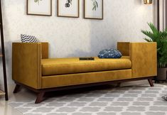 Estelle is a contemporary silhouette, bringing the corners into focus through nail-head detailing. The mid-century tapered legs are rendering the beautiful aesthetics. The fine craftsmanship can be seen in this #chaiselounge of #WoodenStreet. #chaiselounges #sofachaiselounge #chaiseloungecouch