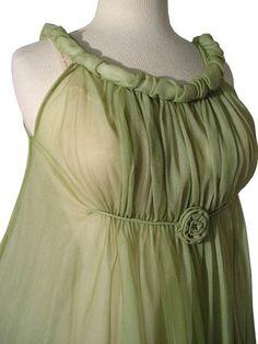 MAD MEN Double Chiffon Vintage 60's Green Nightgown Peignoir Set