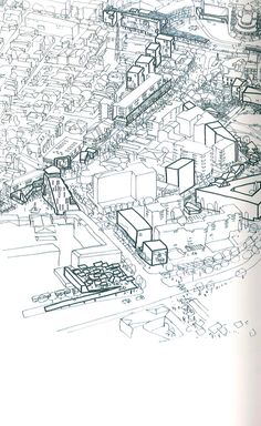 Masterplan Korca City Centre, Albania - Peter Wilson (Bolles+Wilson) 2010 - Showing the existing building fabric (thin lines) and 'new insertions' (thick lines)    From 'Bolles+Wilson, Inspiration and processes in Architecture'