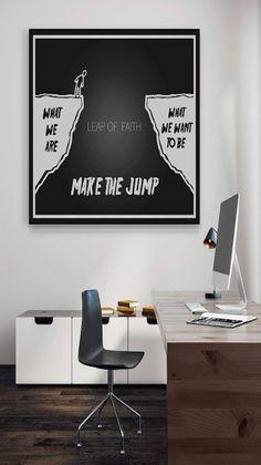 SuccessHunters Leap of Faith Motivational Wall Art Canvas Print, Office Decor, Inspiring Framed Prints, Inspirational Entrepreneur Quotes for Wall Art Decoration x Motivational Wall Art, Motivational Images, Poster Prints, Framed Prints, Canvas Prints, Quote Canvas, Class Decoration, Leap Of Faith, Entrepreneur Quotes