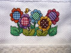 Colorful Flower Cross Stitch Kitchen or Bath Hand Towel