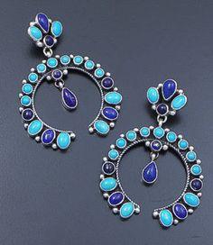 Sale price $462.00 Geneva Apachito (Navajo) - Sleeping Beauty Turquoise & Lapis Large Naja Post Dangle Earrings #39537 $660.00