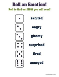 Roll an Emotion- then read with that emotion in your voice! Love this idea!