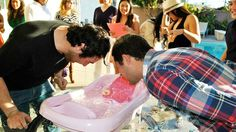 I laughed really hard! Bobbing for Nipple Coed Baby Shower game - best coed baby shower games. A Star-Studded Baby Shower - Twinkle Twinkle Little Star Baby Shower Otoño Baby Shower, Baby Shower For Men, Man Shower, Couples Baby Showers, Shower Bebe, Star Baby Showers, Baby Shower Diapers, Baby Shower Gender Reveal, Diaper Shower