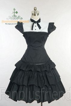 Clearance Sale: Gothic Lolita Neat Square Collar Patch Trimming Dress*Lady 70 Black+white Instant Shipping