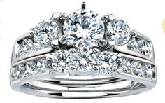 THIS IS MY RING! :) This brilliant Only You diamond wedding set is carats total weight set in white gold. The engagement center diamond is a carat round. The diamond color is J and clarity is Diamond Wedding Sets, Diamond Engagement Rings, Wedding Bands, Cute Wedding Ideas, Diamond Stone, Bridal Sets, Colored Diamonds, Jewelery, Bling