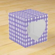 Lavender Lace Gingham Heart Favor Box