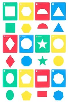 EC - Stencil Geometric Shapes (set of - Learning Can Be Fun Geometric Stencil, Geometric Shapes, Montessori Toys, Stencils, Colours, Learning, Fun, Painting, Kids