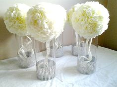 Centerpiece Cylinder Vase Lot Silver Bling Rhinestone Diamond Crystal Elegant Wedding Party Vases 5 Pc Lot via Etsy