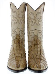 Men's crocodile alligator exotic sand tan leather cowboy boots biker tail cut