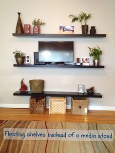 Interior Floating Dark Brown Polished Wooden Wall Shelves On Grey Outstanding For Bedroom With Awesome Design