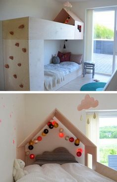 diy house frame bunk bed with climbing wall