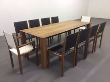 Modern Contemporary Heals Lucido Walnut Dining Table With 10 Chairs
